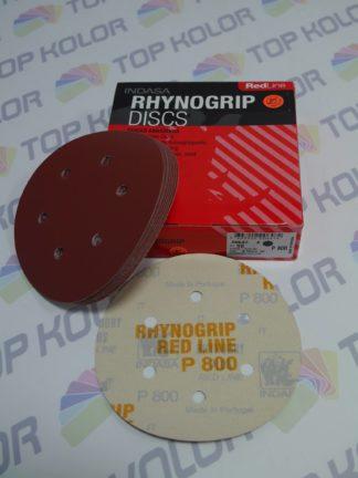 Indasa krążki ścierne rzep czerwone 6H średnica 150mm p800