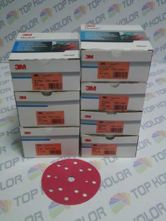 3M 51194 krążki ścierne rzep czerwone średnica 150mm p120